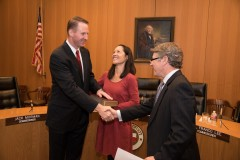 Judge Goodwin being sworn-in by Harris County Judge Ed Emmett