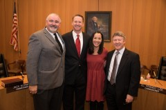 Judge Goodwin with his wife, Priscilla, Harris County Commissioner Jack Cagle and Judge Ed Emmett