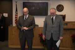 The Honorable Roger Bridgwater and Harris County Commissioner Jack Cagle pray during Judge Goodwin's investiture ceremony
